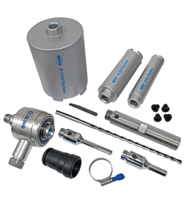 MEXCO 9 PIECE DCX90 SLOTTED DRY CORE DRILL KIT WITH EXTRACTOR-10690