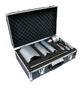 MEXCO 9 PIECE DCX90 SLOTTED DRY CORE DRILL KIT WITH EXTRACTOR-0