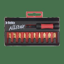 FELO ALLSTAR 11 TIN PIECE SCREWDRIVER BIT SET WITH FELO STAR BIT HOLDER-0